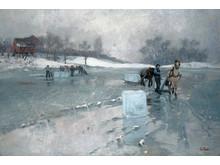 Frits Thaulow, Iskjøring (1884). Lillehammer Kunstmuseum