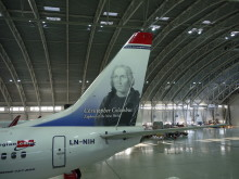 Chistopher Columbus' tail hero (LN-NIH) at Norwegian's hangar in Oslo.