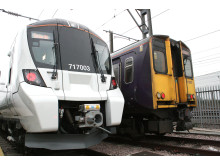 Old and new Class 717 and 313 Moorgate trains at Hornsey depot