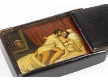 Erotisk snusdosa i trä, 1800-tal