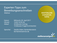 Am 05. April 2017 bietet die Online-Jobbörse stellenanzeigen.de ein kostenloses Webinar zum Thema Bewerbungsanschreiben an.