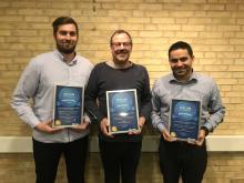 Kristian Ravn-Nielsen, Lasse Schmidt og Alex Løkkegaard fra Lindabs talentprogram