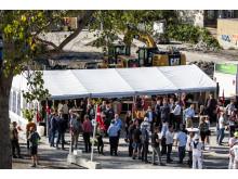 200 gæster var mødt op til rejsegilde på Greensquare Garden, som er Arkitektgruppens første projekt under DGNB Guld certificeringen