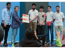 Professor Nisar and his team receiving award at IEEE World Haptics Conference 2019