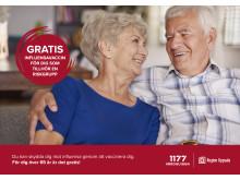 Alla över 65 år får ett vykort med uppmaning att vaccinera sig mot influensa