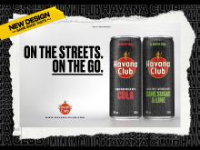 Die beliebten Ready-To-Drinks Havana Club & Cola sowie Havana Club Cane Sugar & Lime im neues Design
