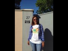Ricardo's mum, Maria wearing a Ricardo T-shirt