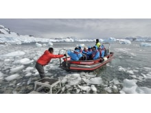 Landing at Cuverville Island, Antarctica