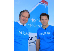 Norwegian supports UNICEF - Norwegian CEO Bjørn Kjos and Bernt Apeland, Executive Director UNICEF, Norway