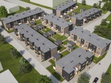 Översiktsillustration av det nya kvarteret BoKlok Bangården i Kävlinge