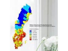 Mäklad villamarknad i Sverige (kommunvis) Andelen villaöverlåtelser som förmedlas av mäklare