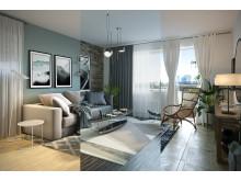 Vardagsrum i tre stilar