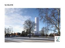 Bildmontage av vy över höghuset från E18