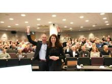 Kjell Petter Småge, som er ansvarlig for konferansen og rådgiver drift i Grønn Byggallianse, sammen med daglig leder i Grønn Byggallianse, Katharina Bramslev. Her fra fjorårets konferanse
