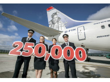 Norwegian Dublin base crew members mark 250,000 passenger milestone