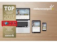 """stellenanzeigen.de wird von Focus als """"Top-Karriereportal 2017"""" ausgezeichnet"""