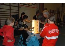 Solracet Deltävling 4 Arlöv - Trampa för att se hur mycket energi som behövs för att få lamporna att lysa