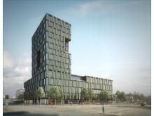Arkitektbilde av Trondheimsporten, av ARC Arkitekter AS.