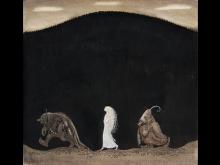 John Bauer, Bianca Maria och trollen, 1913, akvarell på papper, 31,5 x 33,5 cm, privat ägo. Foto: Bukowskis.