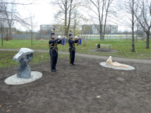 Fanfar vid invigningen av Barnens Skulpturpark den 12 dec. 2020.