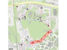 Universitetssjukhuset, temporär resväg för busslinje 3.
