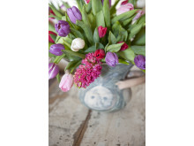 Bukett med tulpaner och hyacinter
