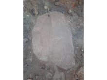 Bild på den funna stenen. Foto: Axel Krogh Hansen, Arkeologerna