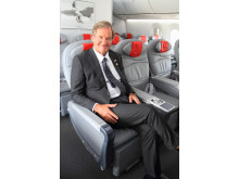 Norwegian CEO Bjørn Kjos inside the Dreamliner
