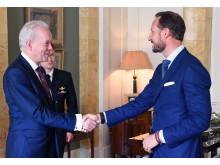 Professor Andrew Wathey CBE meeting Crown Prince Haakon of Norway.