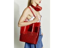 sony h.ear on red with beach bag