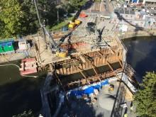 Bygget av Vasabron ovanifrån september 2018 Bild Trafikkontoret Göteborgs Stad