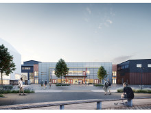 Nya Wallenstam arena i Mölnlycke fabriker. Illustration: Liljewalls arkitekter