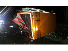 The RAC patrol van struck by a car on the westbound hard shoulder on the M4 near Swindon at 8.00pm on Thursday 23 November.