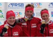 Harald Øygard,Aleksander Fjeld Andersen og Endre Strømsheim,stafett ungdom menn,junior-vm2016