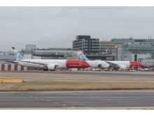 787 Dreamliners parked at Gatwick