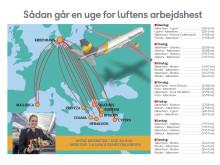 A321-flyets arbejdsplan for en uge indeholder flere af danskernes foretrukne rejsemål som Mallorca, Rhodos og Kreta. Når flyet står stille, kaster teknikerne sig over det for at gennemføre de lovbefalede checks.