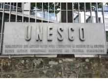 Utanför UNESCO:s huvudkontor i Paris.