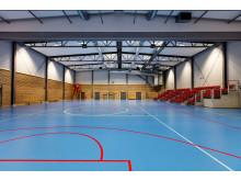 Interiör från Storvretas nya idrottshall, Uppsala.