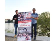 Filip Ospalý (vpravo) a Nico Kronfoth, člen řídícího výboru série Challenge Family, zvou na historicky největší triatlonovou událost v České republice.