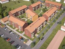 Översiktsillustration av det nya området med lägenheter, BoKlok Svärdet i Hemlingby.