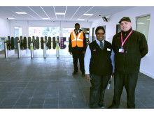 Station assistant Rachel James and revenue control officer Mike Tyler in the new concourse