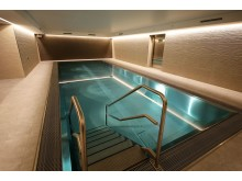 Pool im Wellnessbereich mit integrierter Sauna