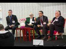 Frågestund i samband med invigningen av Underhållsmässan
