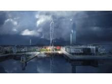 Vinnande förslag i tävlingen för design av Göteborgs stadslinbana