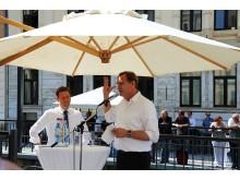 Michael Kretschmer (Ministerpräsident Sachsen) und Burkhard Jung (Oberbürgermeister der Stadt Leipzig) hielten die Eröffnungsreden