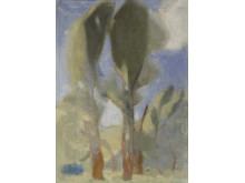 Helene Schjerfbeck, Träd i blåst, 1918. Olja och tempera på duk. 87 x 63 cm.