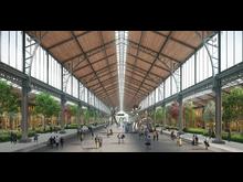 Holzkonstruktion des Gare Maritime, Brüssel, Haupthalle