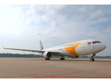 The inaugural MIAT Mongolian Airlines B767-300ER touches down at Changi Airport