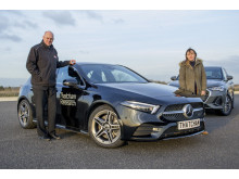 Matthew Avery, Thatcham Research and Claire Evans, What Car? with What Car? Safety Award winner the Mercedes Benz A-Class
