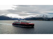 MS Roald Amundsen undergoing sea trials in the waters off Kleven Yard in Norway. Photo: UAVPIC.COM/Tor Erik Kvalsvik/Kleven/Hurtigruten